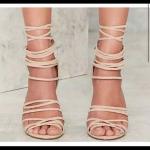 Nasty Gal Wrap in the Face Heels - Beige